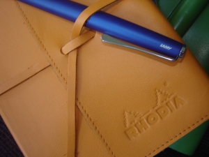 Rhodia ePURE Soft Journal  in leather with an Imperial Blue Lamy Studio